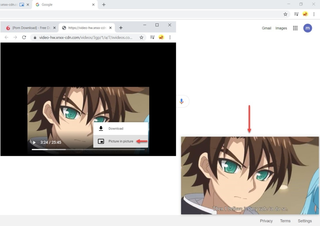 Preview videos in picture-in-picture mode